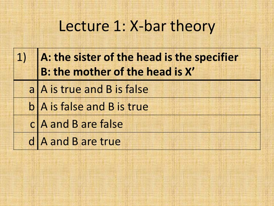 Lecture 1: X-bar theory 1)A: the sister of the head is the specifier B: the mother of the head is X' aA is true and B is false bA is false and B is true cA and B are false dA and B are true