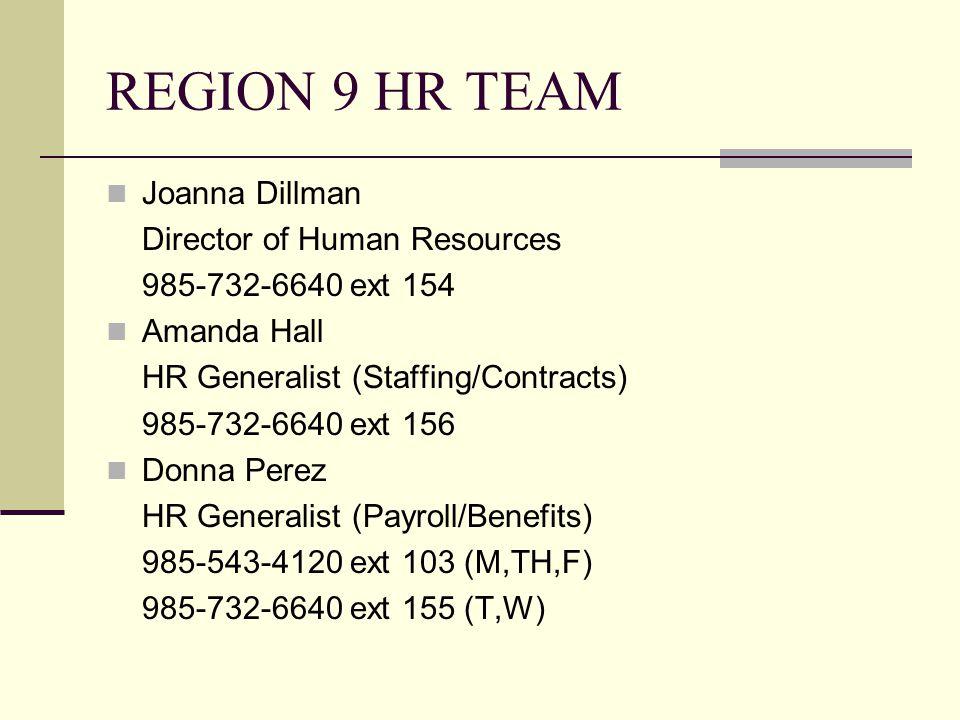 Human Resources Region 9 HR Team HR Website Timekeeping FMLA Outside Employment Annual Enrollment