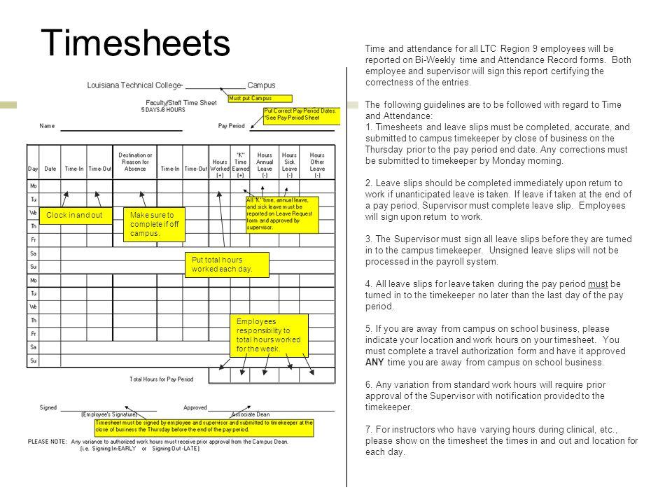 Time & Attendance Procedure HR 001 Reviews timekeeping responsibilities for Region 9 Employees.