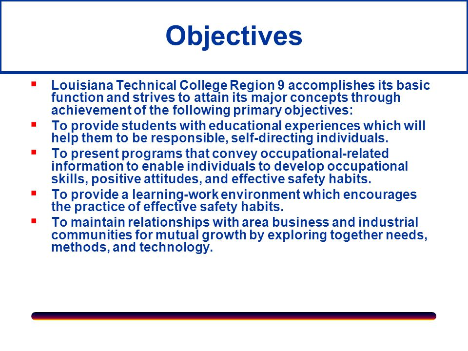 Mission  The mission of Region 9 is to provide relevant technical and academic education needed by individuals to make informed and meaningful occupational choices, to train and re-train individuals to qualify for employment in existing or potential occupational fields, and to mesh in a system of articulation with secondary and postsecondary technical colleges/higher education institutions to continue training and to upgrade skills and education credentials of the workforce.