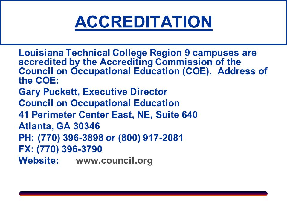Governing Board  The Board of Supervisors of the Louisiana Community and Technical College System (LCTCS) is the clearly defined, legally constituted governing board for the college.