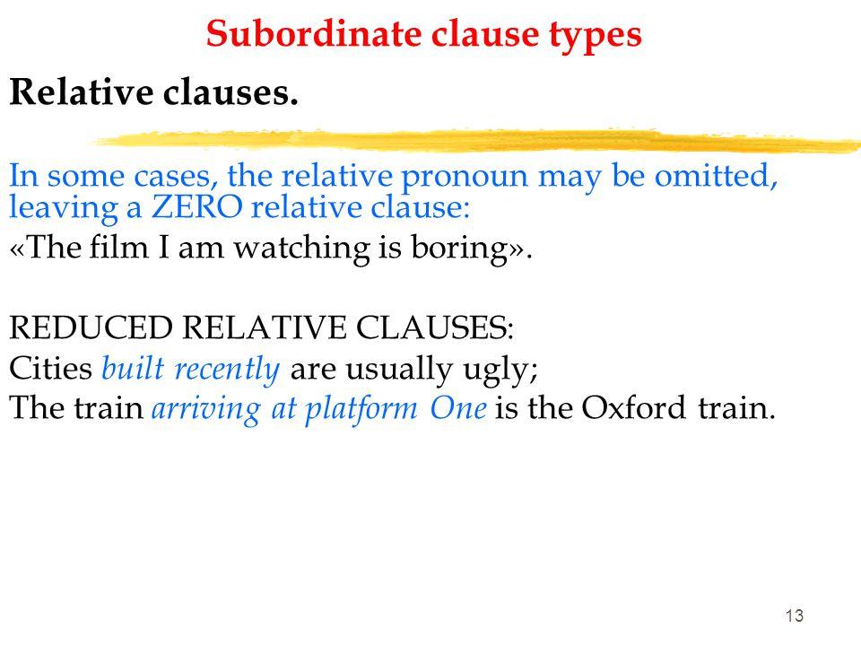 12 Subordinate clause types Relative clauses.
