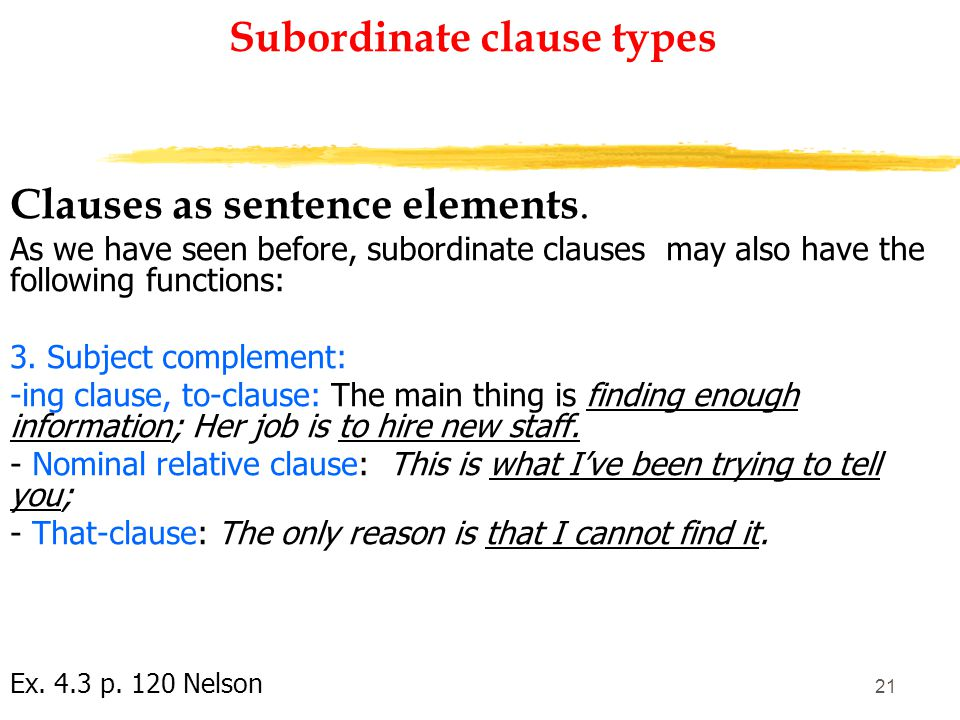 20 Subordinate clause types Clauses as sentence elements.