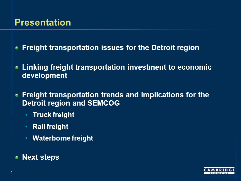 22 But the freight rail network is nearing capacity, especially on the lines west and south of Chicago, which could increase costs for Detroit shippers and receivers – Source: National Rail Freight Capacity Study, 2007 Future Corridor Volumes Compared to Current Corridor Capacity, 2035 without Improvements