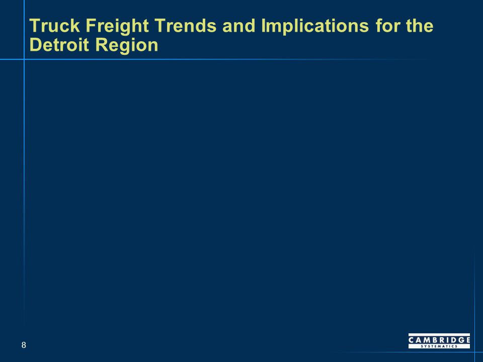19 Detroit's rail system is geared primarily to serve general merchandise/ carload train traffic – Source: AASHTO Rail Freight Transportation Bottom Line Report, 2008 Merchandise/Carload Rail Traffic, 2005