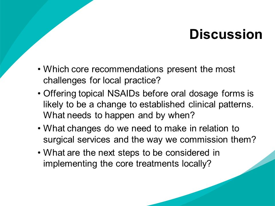 Discussion Which core recommendations present the most challenges for local practice.