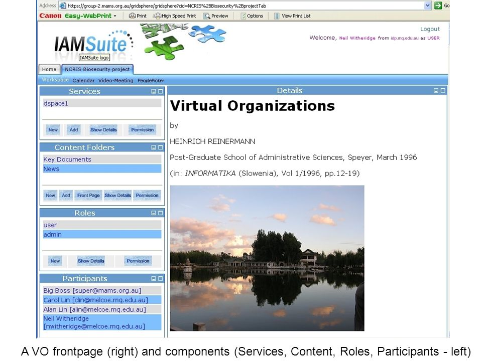 A VO frontpage (right) and components (Services, Content, Roles, Participants - left)