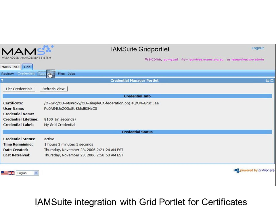 A IAMSuite integration with Grid Portlet for Certificates