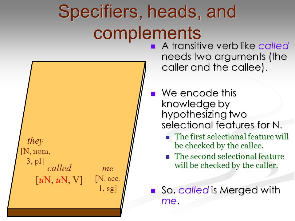Specifiers, heads, and complements A transitive verb like called needs two arguments (the caller and the callee). A transitive verb like called needs