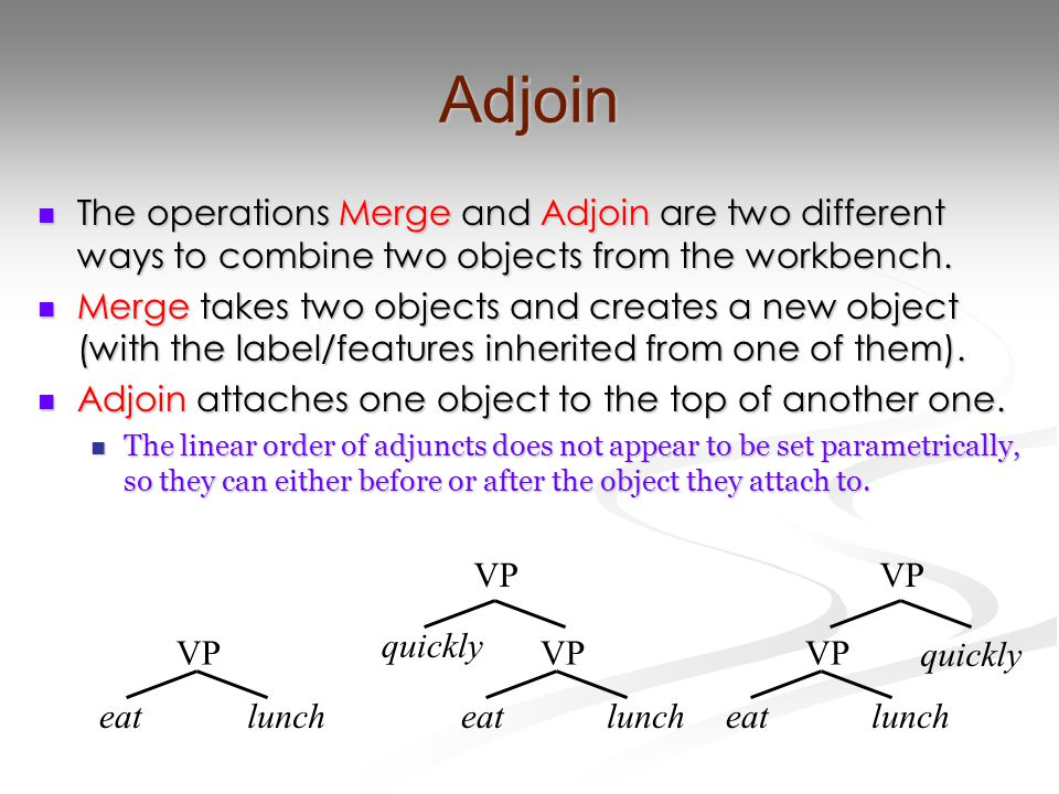 Adjoin The operations Merge and Adjoin are two different ways to combine two objects from the workbench. The operations Merge and Adjoin are two diffe