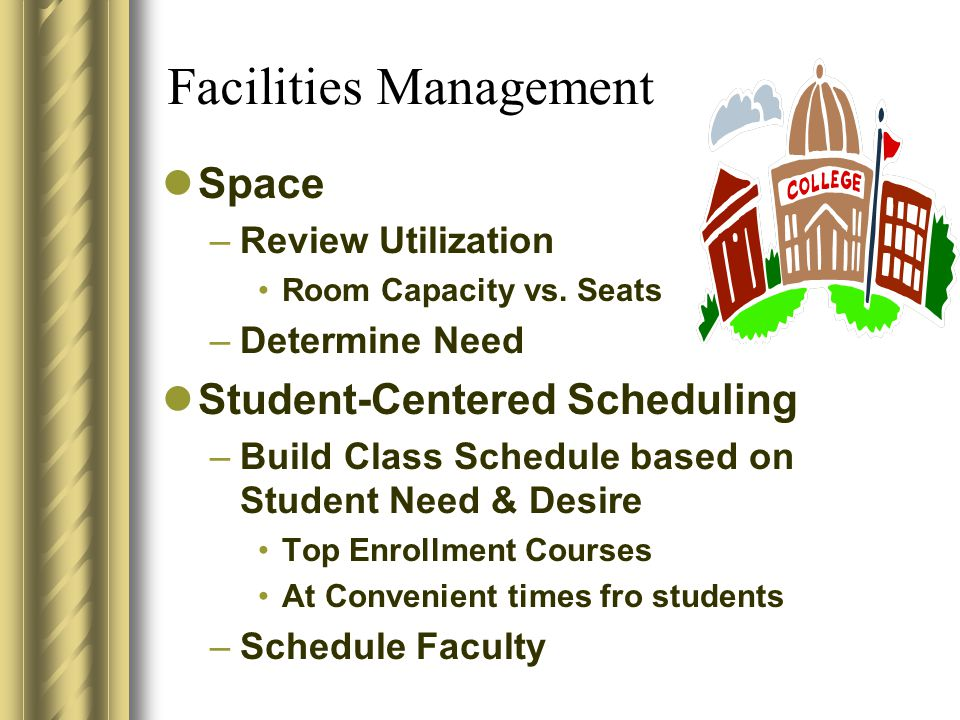 Facilities Management Space –Review Utilization Room Capacity vs.