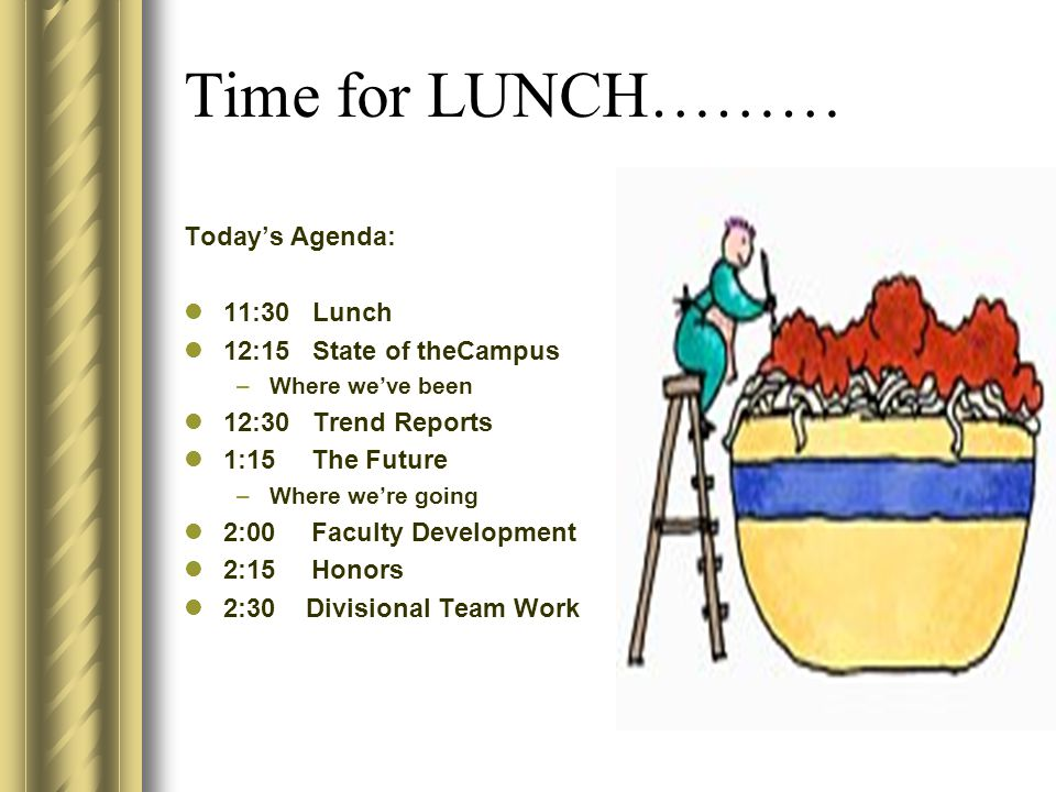 Time for LUNCH……… Today's Agenda: 11:30 Lunch 12:15 State of theCampus –Where we've been 12:30 Trend Reports 1:15 The Future –Where we're going 2:00 Faculty Development 2:15 Honors 2:30 Divisional Team Work