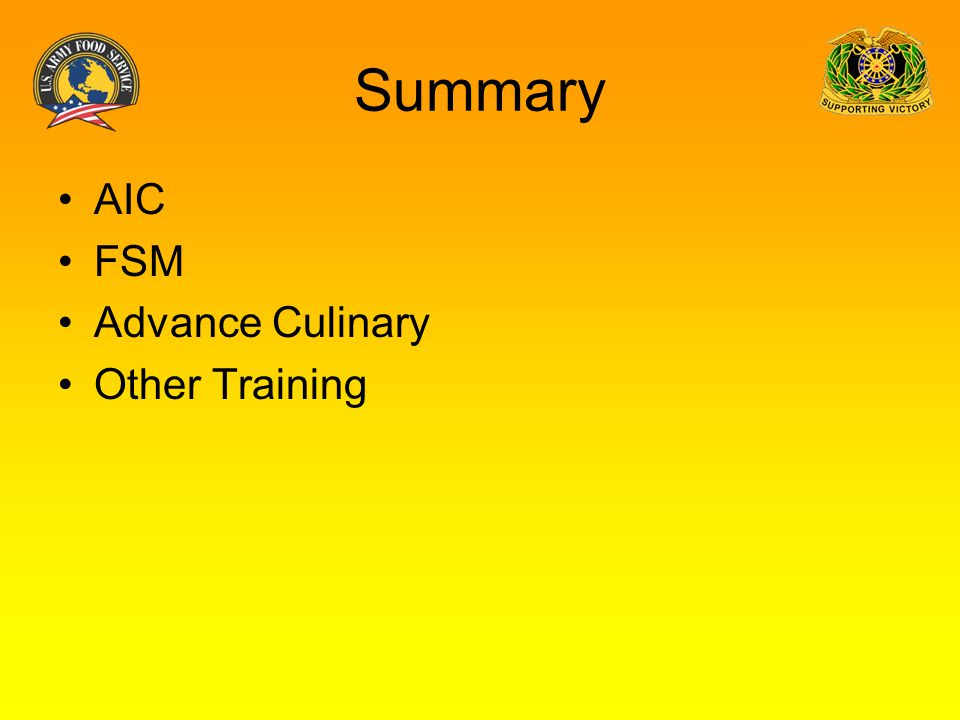 Summary AIC FSM Advance Culinary Other Training
