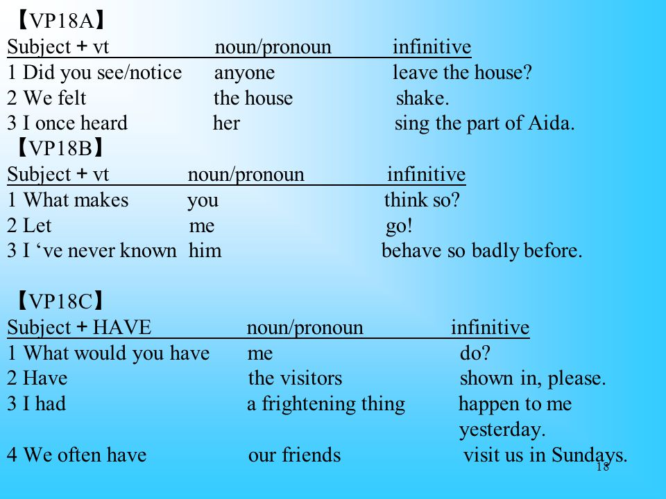 18 【 VP18A 】 Subject + vt noun/pronoun infinitive 1 Did you see/notice anyone leave the house.