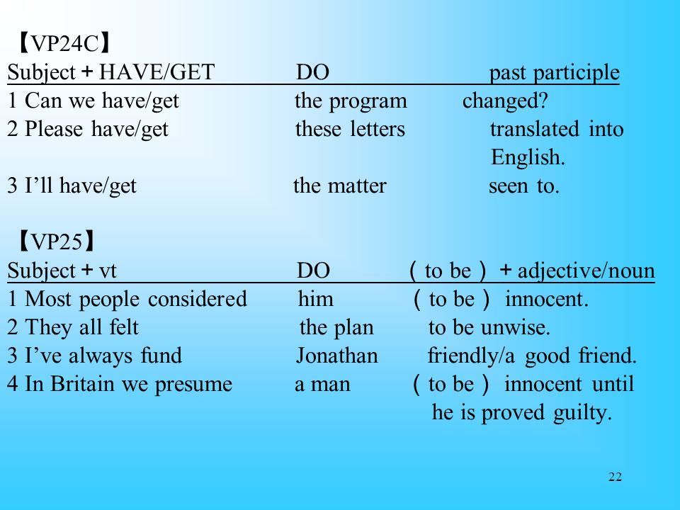 22 【 VP24C 】 Subject + HAVE/GET DO past participle 1 Can we have/get the program changed.