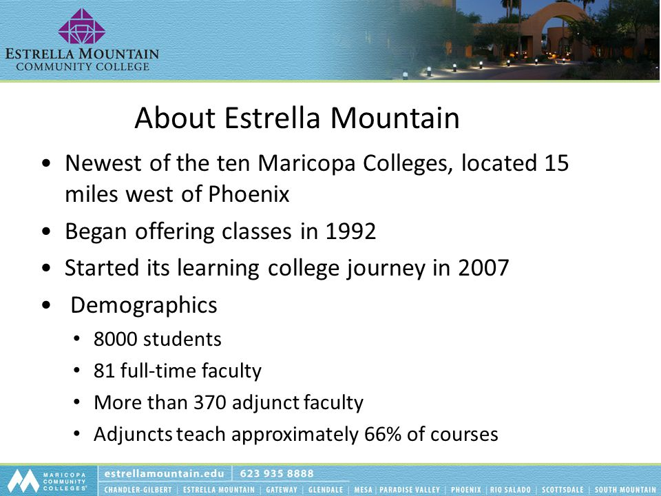 About Estrella Mountain Newest of the ten Maricopa Colleges, located 15 miles west of Phoenix Began offering classes in 1992 Started its learning coll