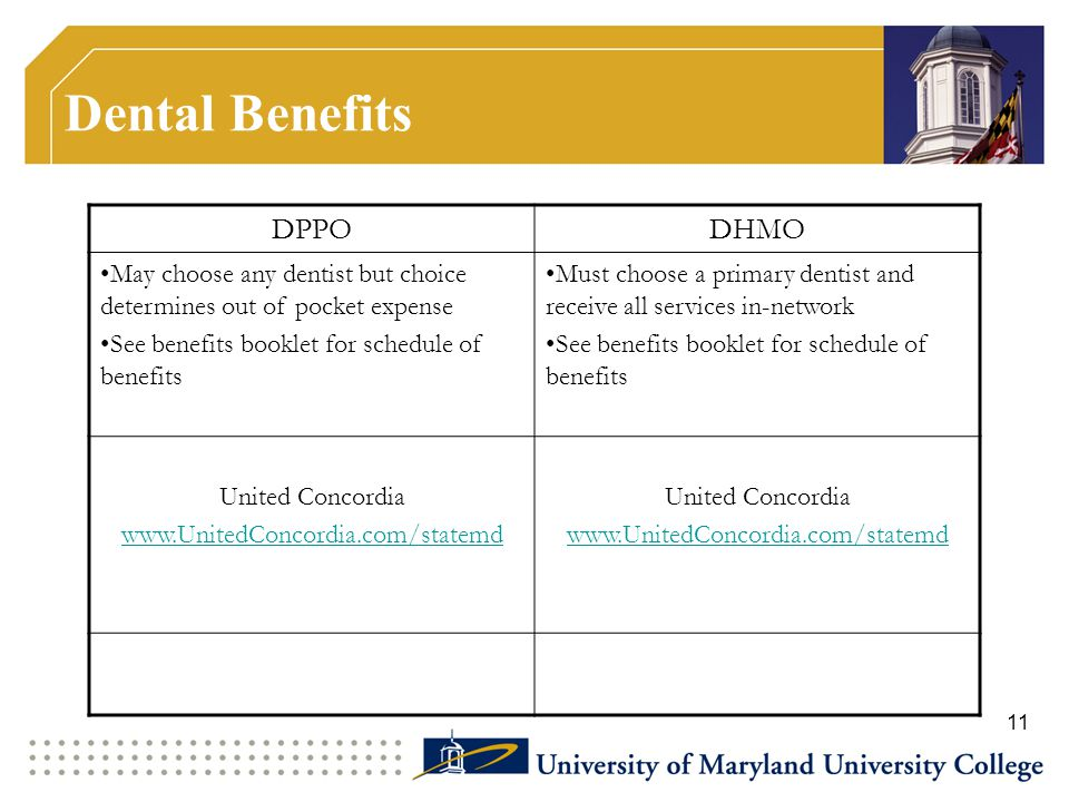 Dental Benefits DPPODHMO May choose any dentist but choice determines out of pocket expense See benefits booklet for schedule of benefits Must choose a primary dentist and receive all services in-network See benefits booklet for schedule of benefits United Concordia www.UnitedConcordia.com/statemd United Concordia www.UnitedConcordia.com/statemd 11