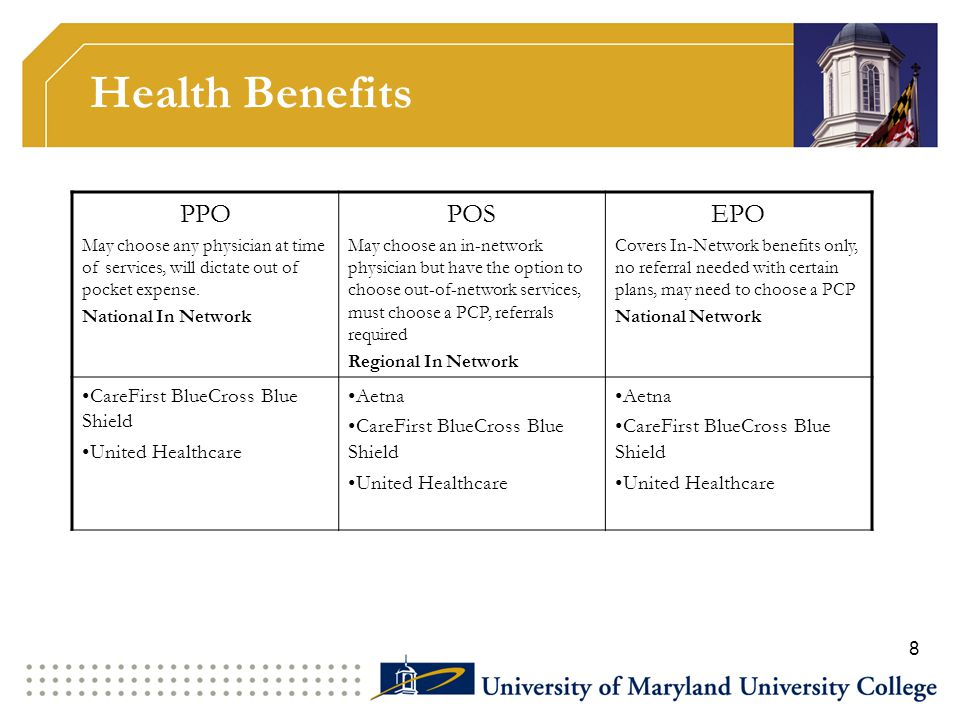Health Benefits PPO May choose any physician at time of services, will dictate out of pocket expense. National In Network POS May choose an in-network