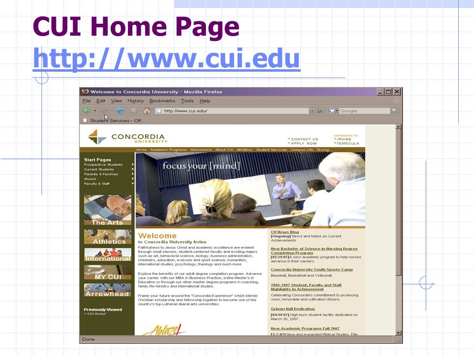 CUI Home Page http://www.cui.edu http://www.cui.edu