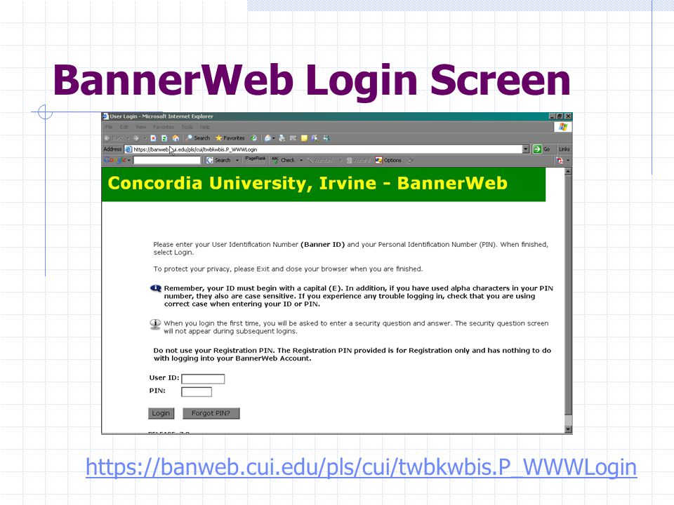 BannerWeb Login Screen https://banweb.cui.edu/pls/cui/twbkwbis.P_WWWLogin