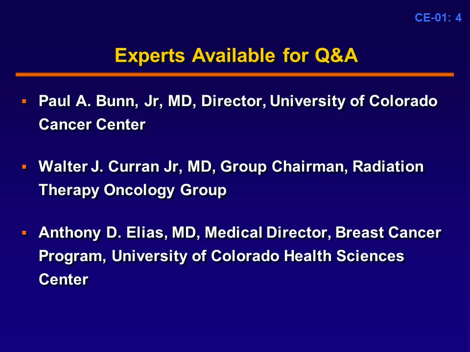 CE-01: 4 Experts Available for Q&A  Paul A.