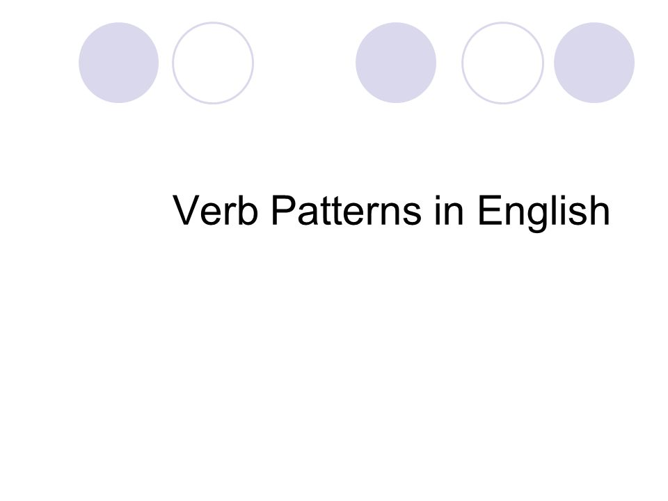 Verb Pattern 1: This pattern is for the verb be .