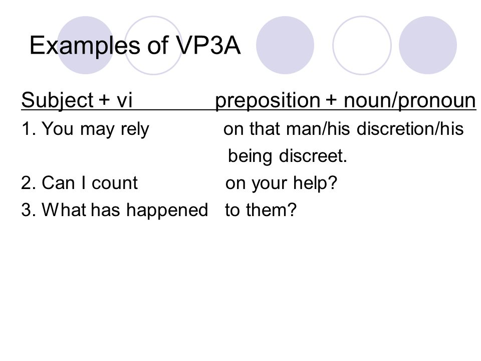 Examples of VP3A Subject + vi preposition + noun/pronoun 1.