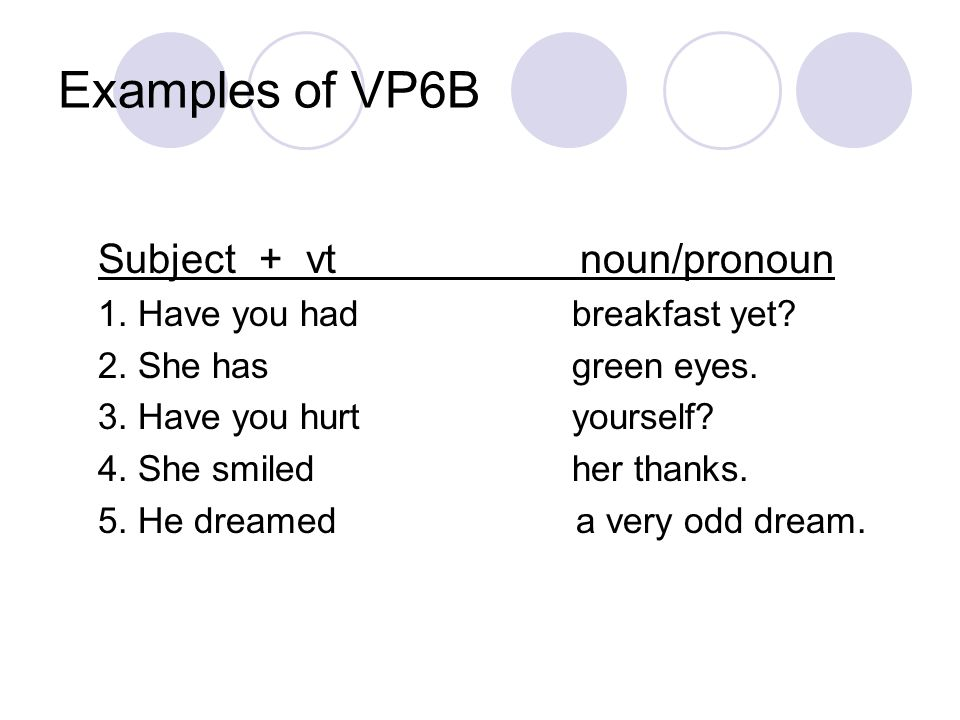 Examples of VP6B Subject + vt noun/pronoun 1. Have you had breakfast yet.
