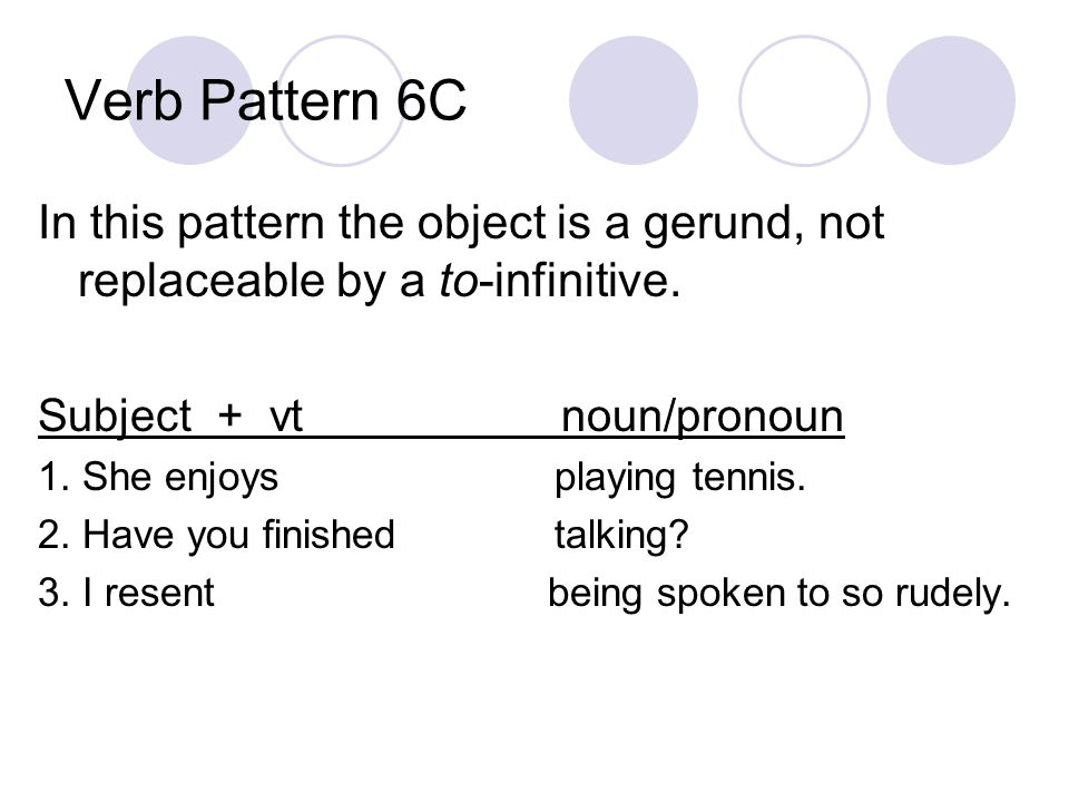 Verb Pattern 6C In this pattern the object is a gerund, not replaceable by a to-infinitive.