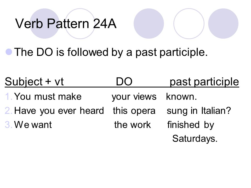 Verb Pattern 24A The DO is followed by a past participle.