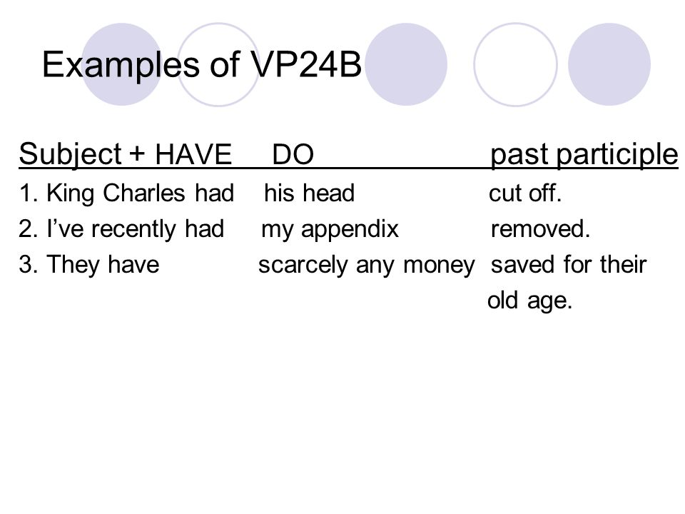 Examples of VP24B Subject + HAVE DO past participle 1.