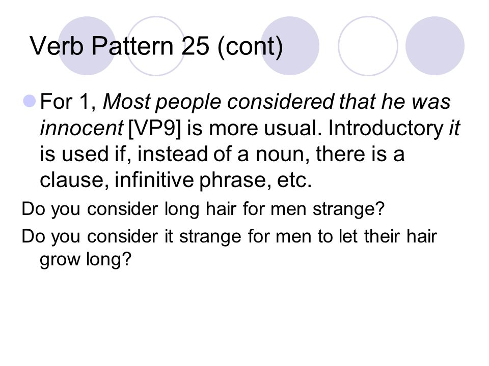 Verb Pattern 25 (cont) For 1, Most people considered that he was innocent [VP9] is more usual.