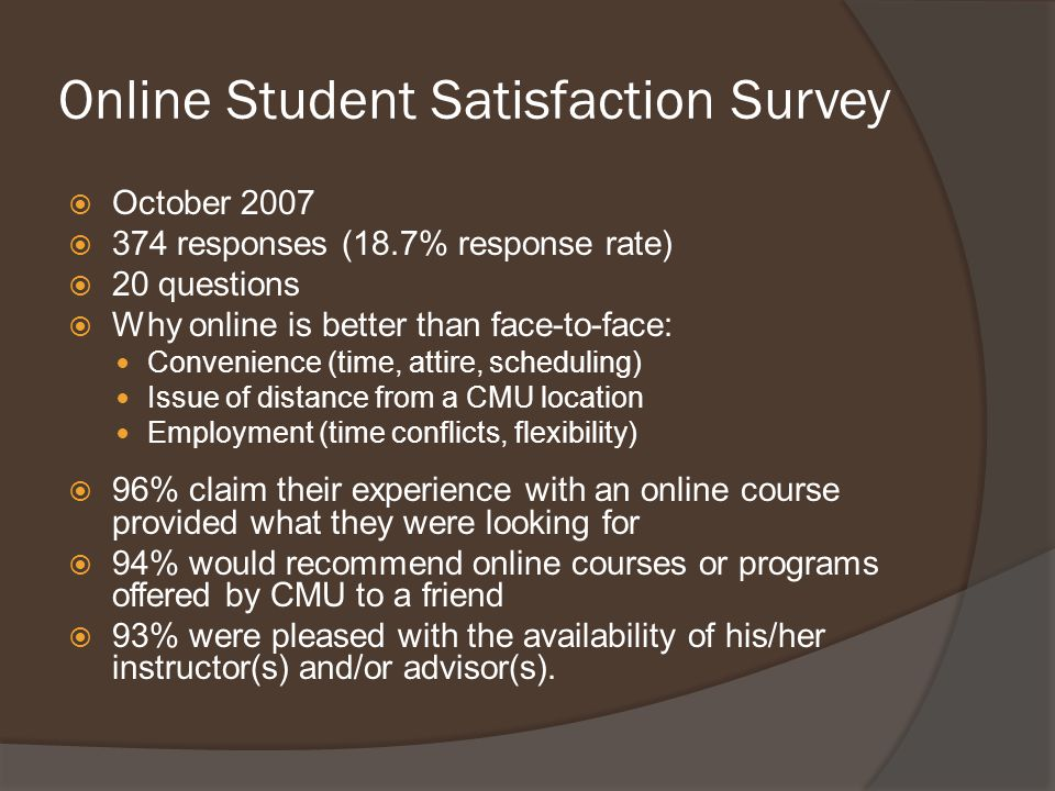 Online Student Satisfaction Survey  October 2007  374 responses (18.7% response rate)  20 questions  Why online is better than face-to-face: Convenience (time, attire, scheduling) Issue of distance from a CMU location Employment (time conflicts, flexibility)  96% claim their experience with an online course provided what they were looking for  94% would recommend online courses or programs offered by CMU to a friend  93% were pleased with the availability of his/her instructor(s) and/or advisor(s).