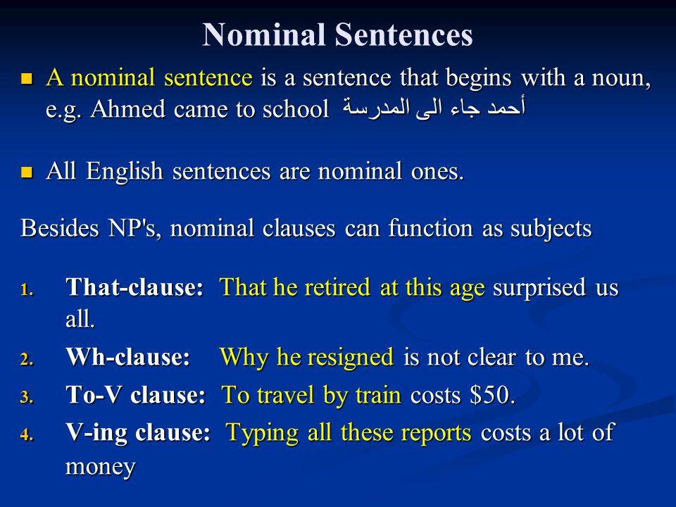 Nominal Sentences A nominal sentence is a sentence that begins with a noun, e.g.