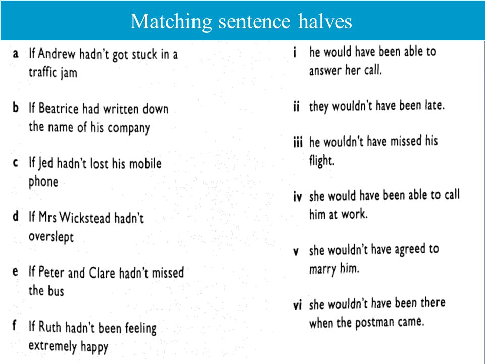Matching sentence halves