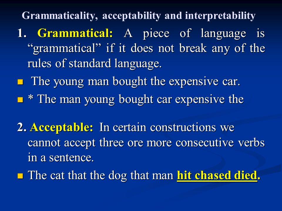 Grammaticality, acceptability and interpretability 1.