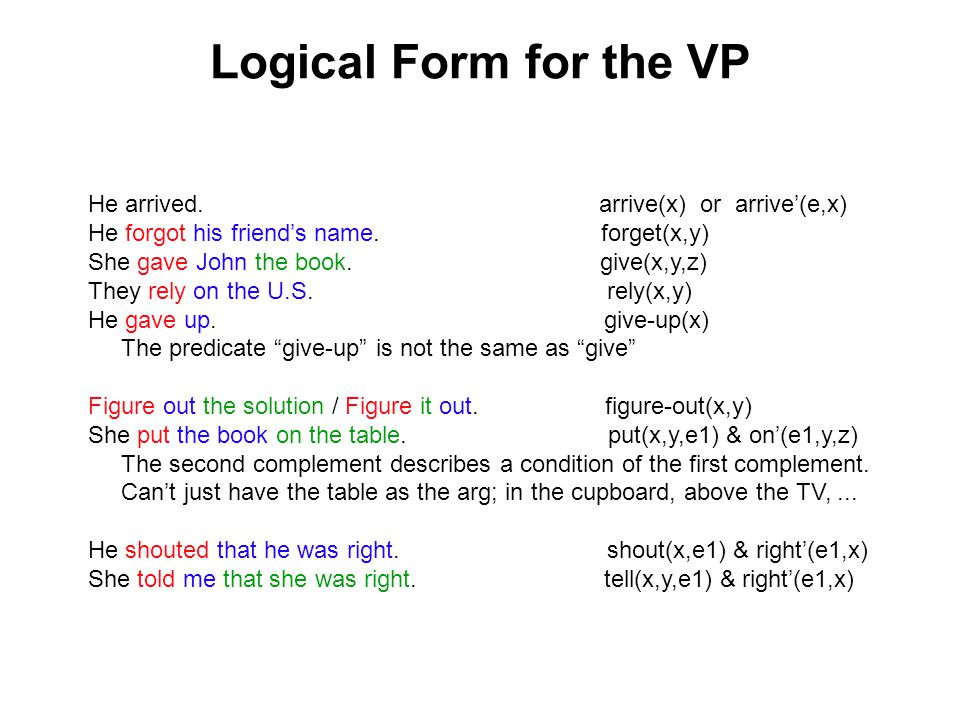 Logical Form for the VP He arrived.arrive(x) or arrive'(e,x) He forgot his friend's name.