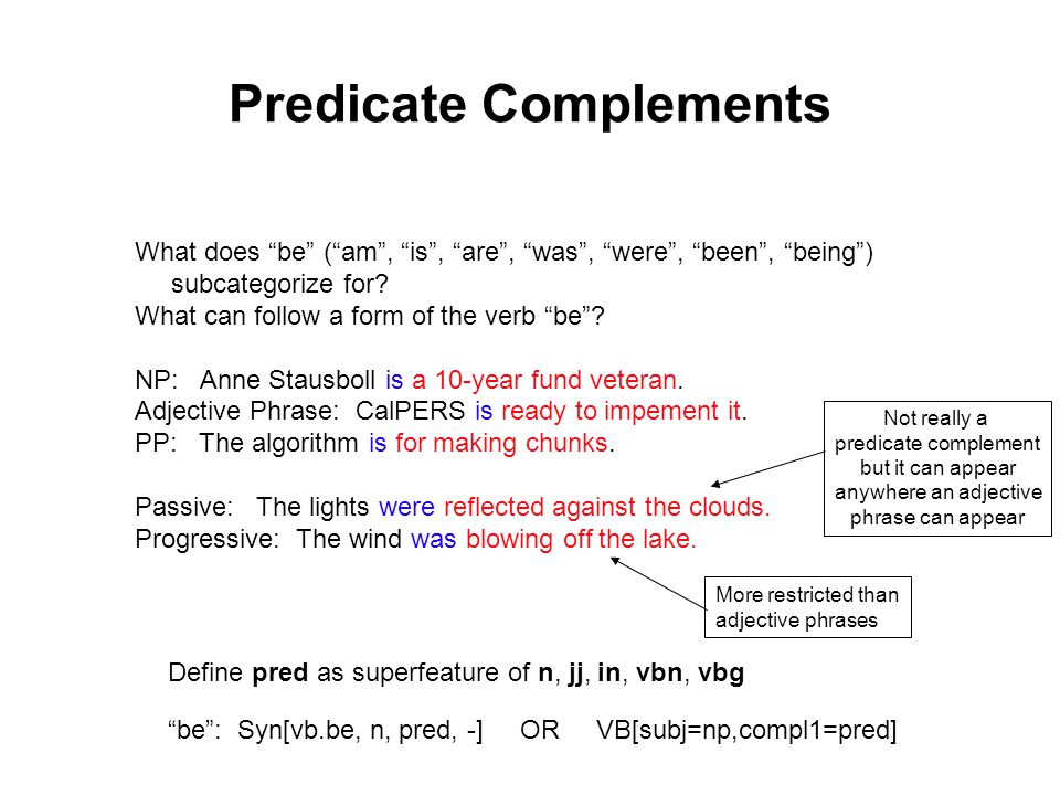 Predicate Complements What does be ( am , is , are , was , were , been , being ) subcategorize for.