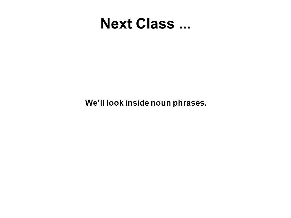 Next Class... We'll look inside noun phrases.