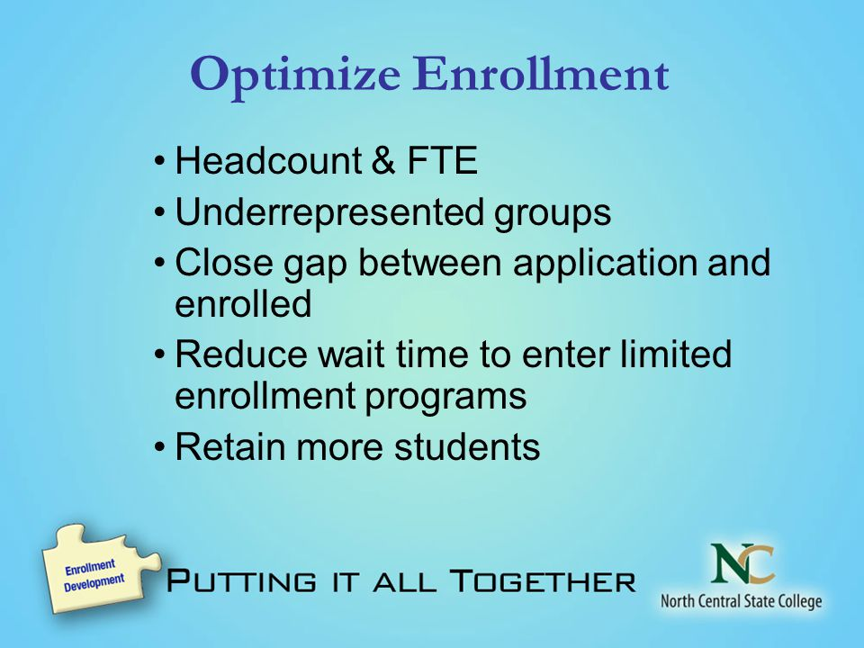 Optimize Enrollment Headcount & FTE Underrepresented groups Close gap between application and enrolled Reduce wait time to enter limited enrollment programs Retain more students