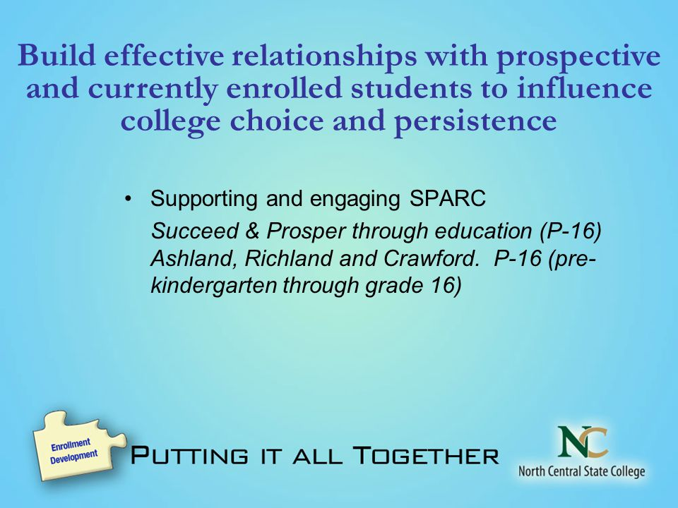 Build effective relationships with prospective and currently enrolled students to influence college choice and persistence Supporting and engaging SPARC Succeed & Prosper through education (P-16) Ashland, Richland and Crawford.