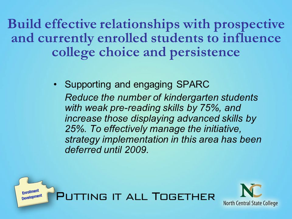 Build effective relationships with prospective and currently enrolled students to influence college choice and persistence Supporting and engaging SPARC Reduce the number of kindergarten students with weak pre-reading skills by 75%, and increase those displaying advanced skills by 25%.