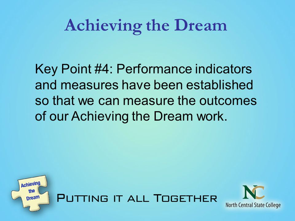 Achieving the Dream Key Point #4: Performance indicators and measures have been established so that we can measure the outcomes of our Achieving the Dream work.