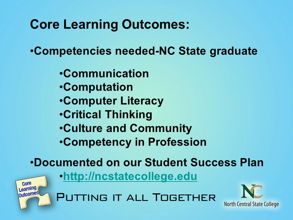 Core Learning Outcomes: Competencies needed-NC State graduate Communication Computation Computer Literacy Critical Thinking Culture and Community Competency in Profession Documented on our Student Success Plan http://ncstatecollege.edu
