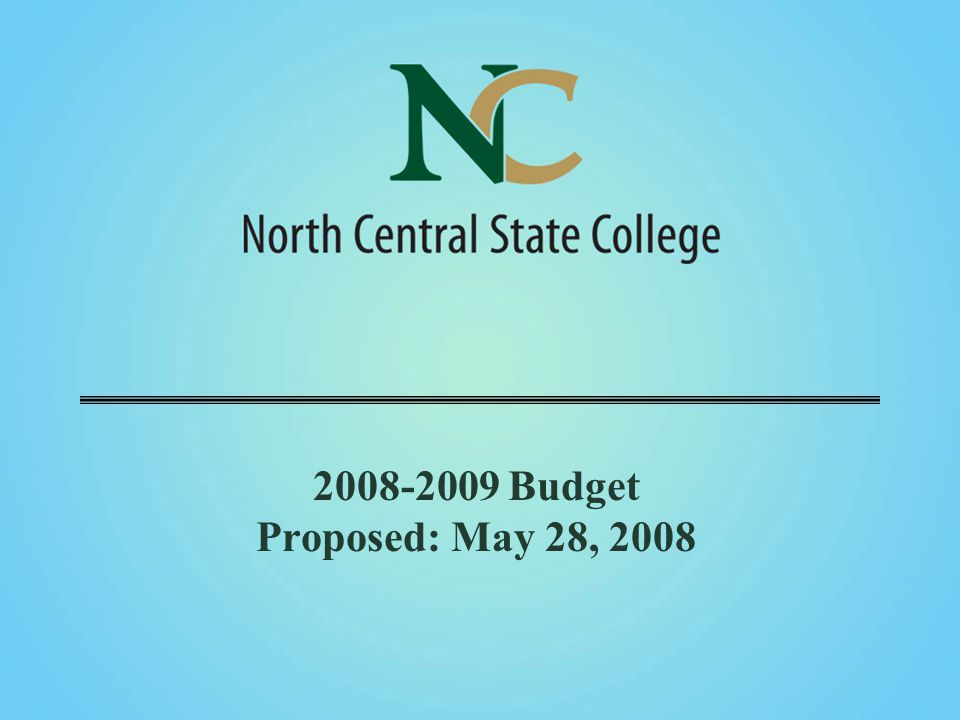 2008-2009 Budget Proposed: May 28, 2008