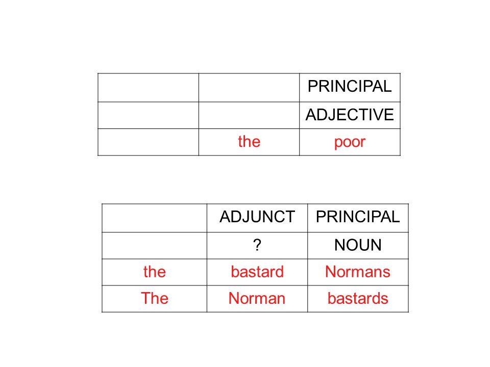 PRINCIPAL ADJECTIVE thepoor ADJUNCTPRINCIPAL NOUN thebastardNormans TheNormanbastards