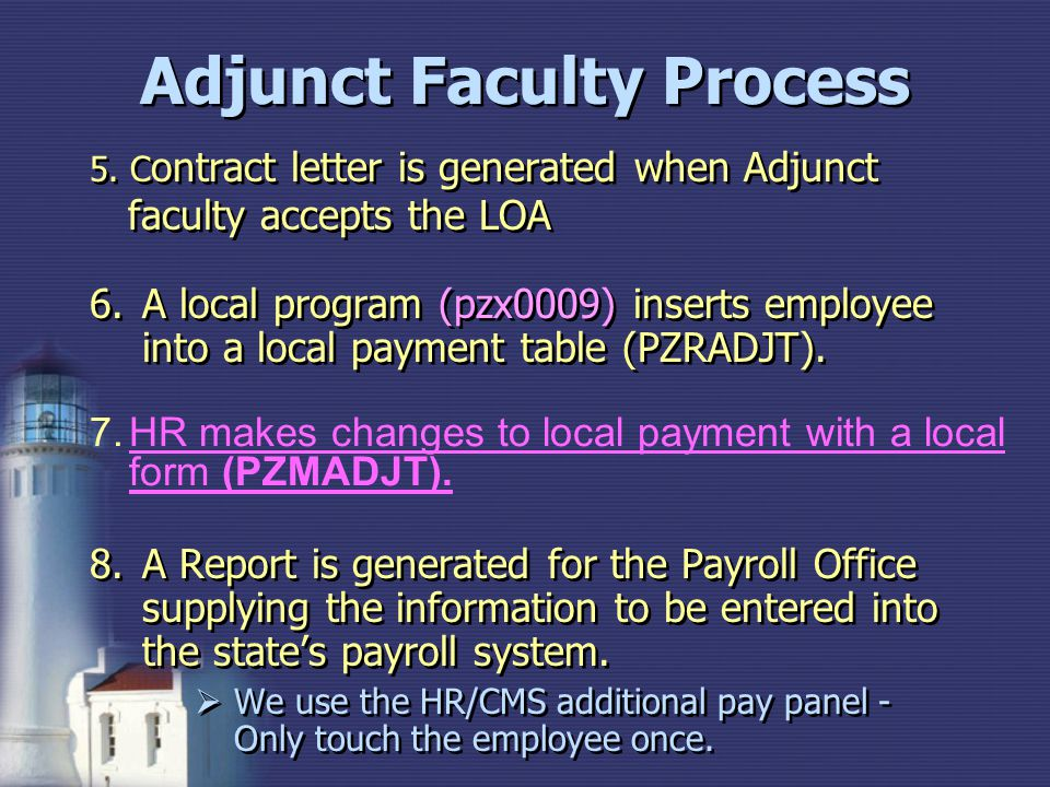 5. C ontract letter is generated when Adjunct faculty accepts the LOA 6.A local program (pzx0009) inserts employee into a local payment table (PZRADJT
