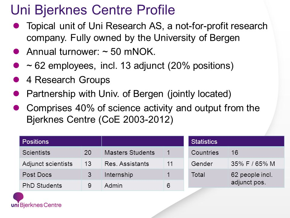 Uni Bjerknes Centre Profile Topical unit of Uni Research AS, a not-for-profit research company.