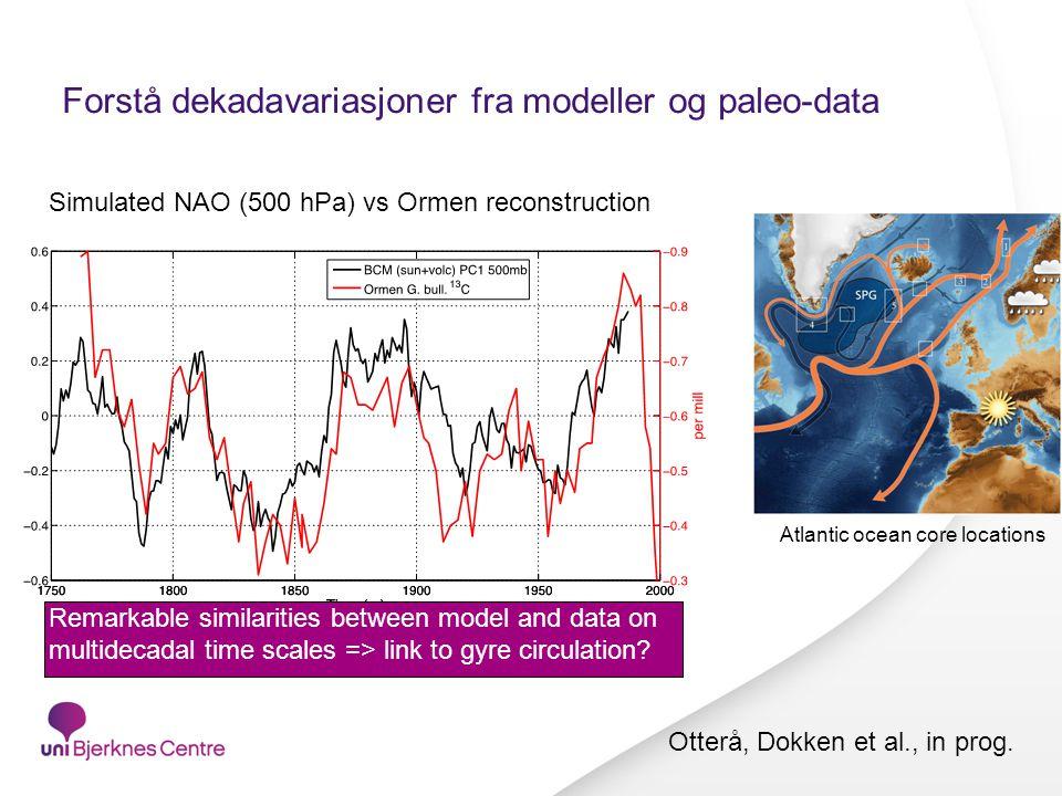 Forstå dekadavariasjoner fra modeller og paleo-data Simulated NAO (500 hPa) vs Ormen reconstruction Remarkable similarities between model and data on multidecadal time scales => link to gyre circulation.