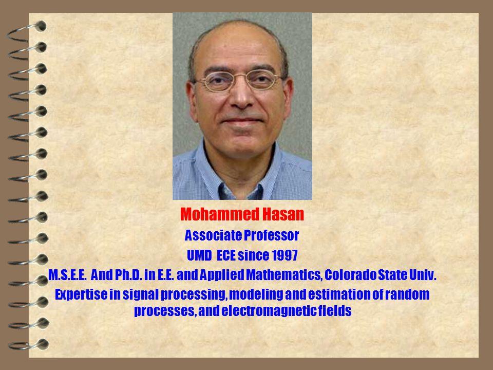Mohammed Hasan Associate Professor UMD ECE since 1997 M.S.E.E.
